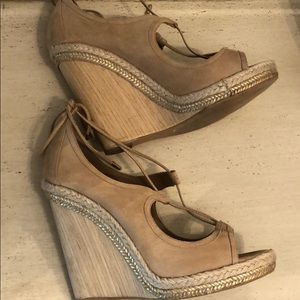 Aquazzura nude wedge